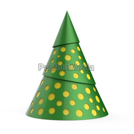 green stylized christmas tree with yellow