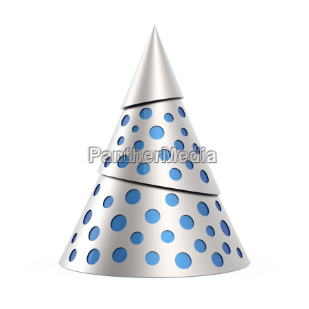 silver stylized christmas tree with blue