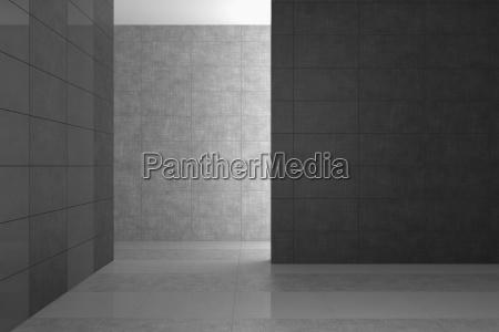 leeres modernes badezimmer mit grauen fliesen
