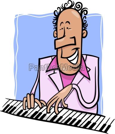 jazz pianist cartoon illustration
