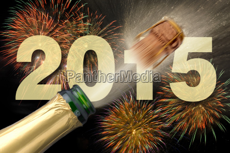 new year 2015 with champagne and