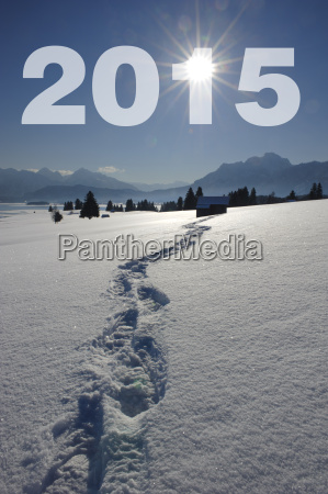 fussspur im schnee zeigt den weg