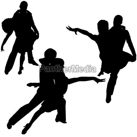 latino dance silhouetten schwarz illustrationen