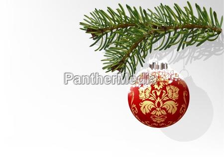 twig and red christmas ball