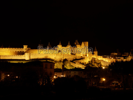 carcassonne fortified town at night france