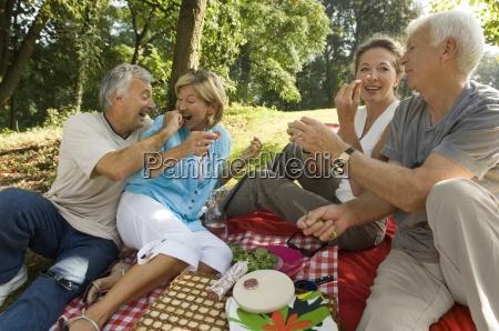 aeltere paare auf einem picknick