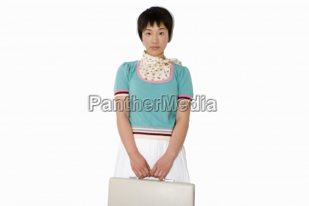 woman with briefcase portrait low angle