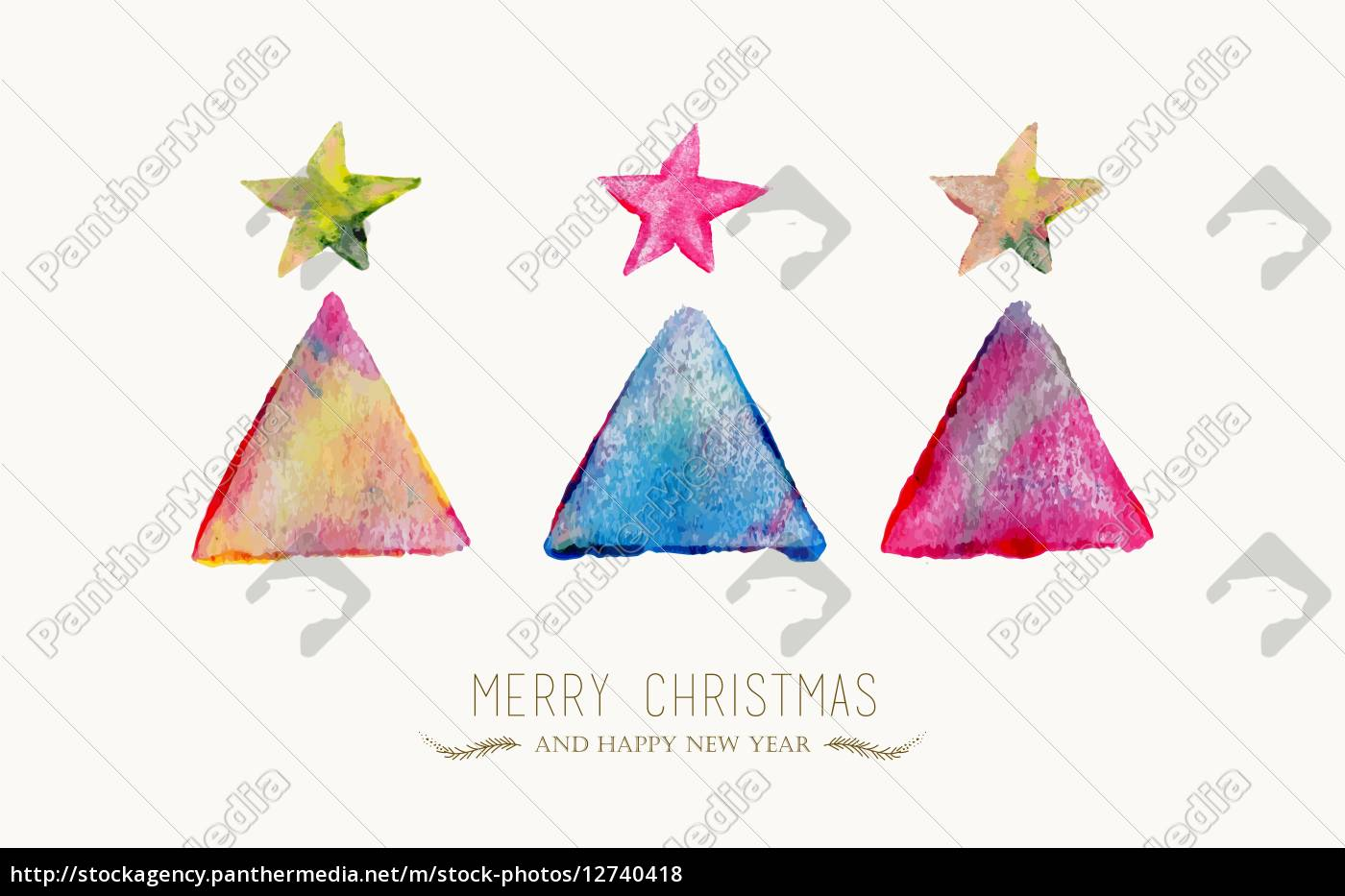 Frohe Weihnachten Hindi.Stockfoto 12740418 Frohe Weihnachten Kiefer Aquarell Grusskarte