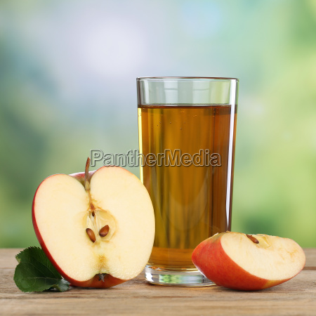 healthy apple juice drink with red