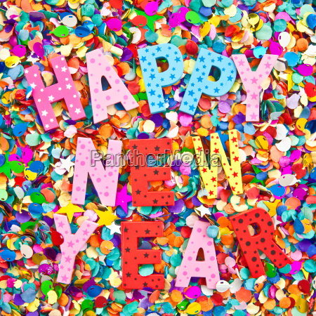 happy new year in bunten buchstaben