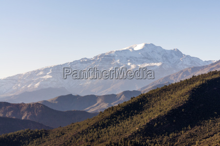 snow covered atlas mountains in morocco