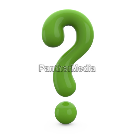 green 3d question mark isolated on