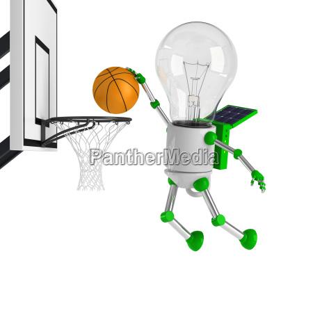 solarbetriebene gluehbirne roboter basketball