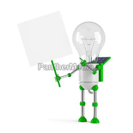 solarbetriebene gluehbirne roboter leere plakat