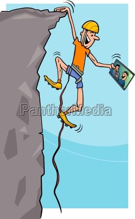 bergsteiger mit tablet cartoon abbildung