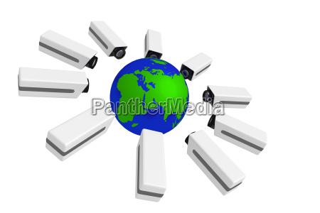 globus terra globale globale sorveglianza telecamere
