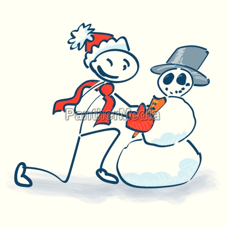 stick figure builds a snowman