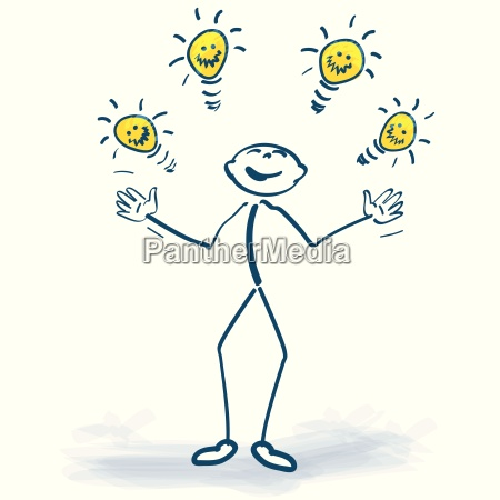 stick figure with light bulbs and