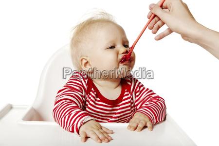 feeding baby eating dinner