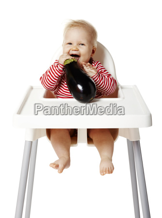 baby eating cucurbit