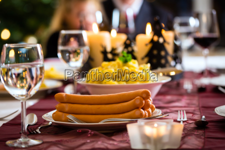 traditional german christmas dinner sausages and
