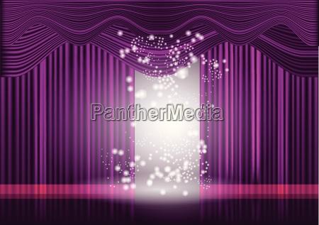 violet theaterbuehnenvorhang