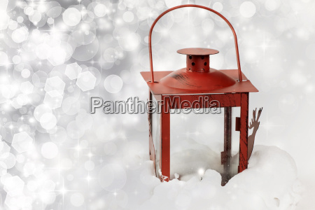 christmas background with red lantern in