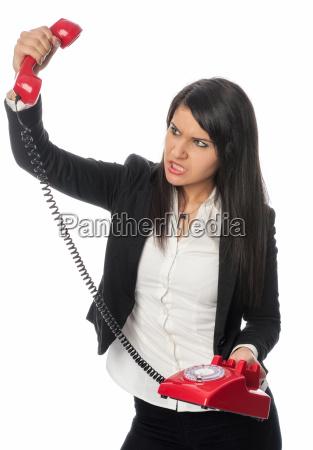 woman telephone phone sour anxious afraid