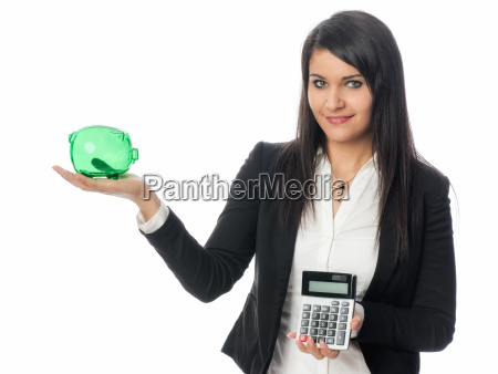 young woman with calculator and piggy