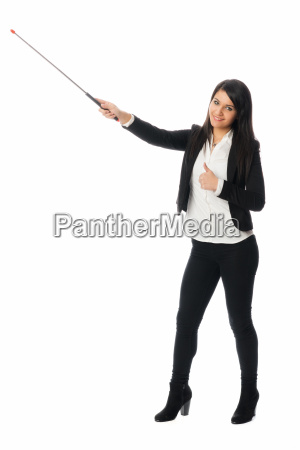 young woman with pointer