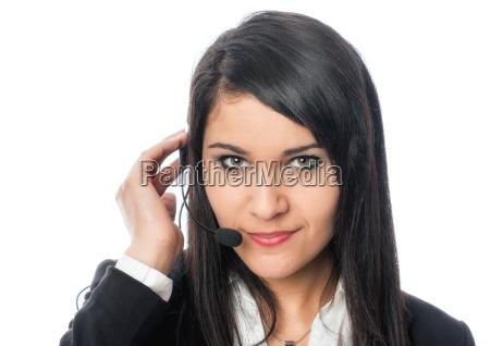 junge, frau, mit, headset - 12860672