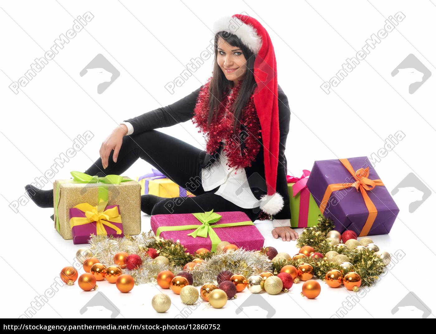 weihnachtsfrau, mit, vielen, geschenken - 12860752