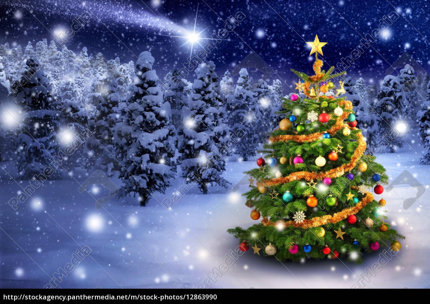 Foto Weihnachtsbaum.Stock Bild 12863990 Weihnachtsbaum In Verschneiter Nacht