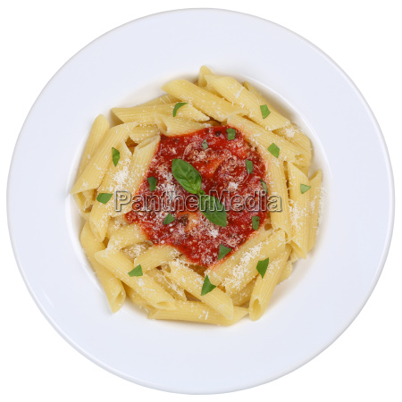 penne rigate isolated napoli with tomato