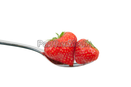 loeffel mit erdbeeren
