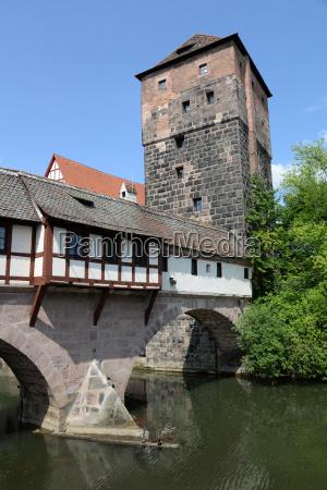 henkersteg and water tower in nuremberg