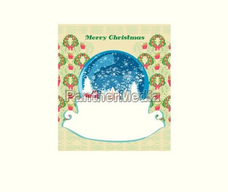 weihnachtsmann in einer glaskugel retro weihnachtskarte