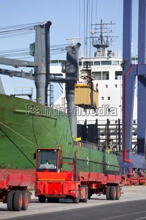 crane loading cargo container onto container