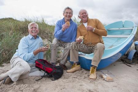 grupa starszych mezczyzn korzystajacych posiedzenia piknik