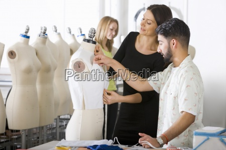 fashion designer and student working on