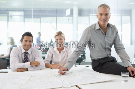 portrait of smiling business people meeting