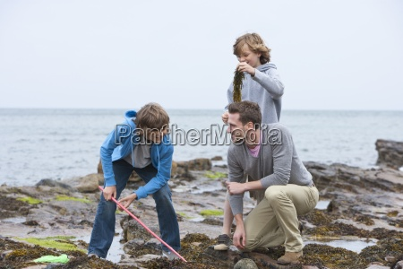 father and sons playing with seaweed