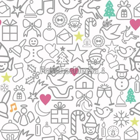 frohe weihnachten geschenkpapier muster kontur ikonen