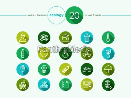 verde conjunto de iconos de entorno