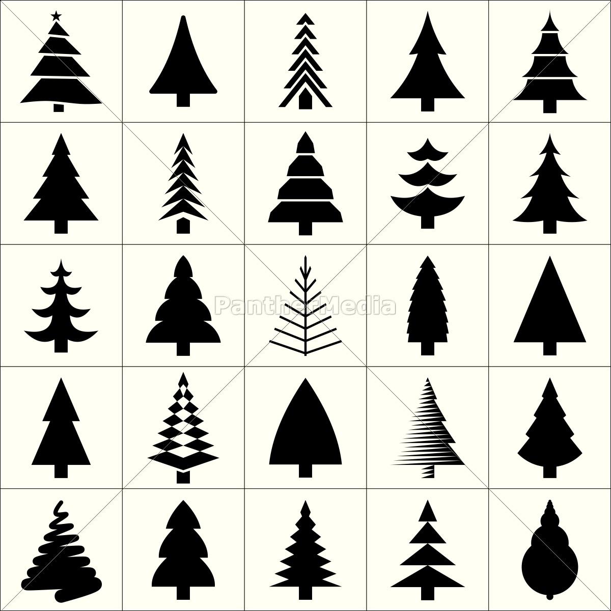 Lizenzfreie Vektorgrafik 12930164 Weihnachtsbaum Silhouette Design Vektor