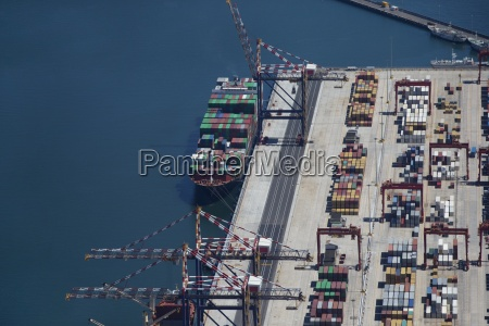 aerial view of container ship moored