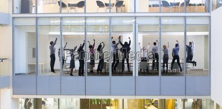 view of business people celebrating in