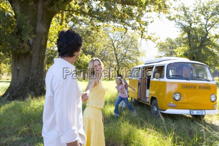 family of four by camper van