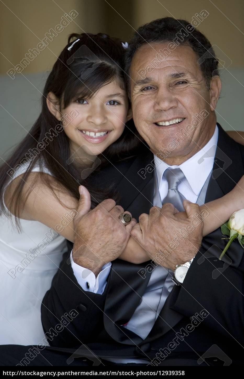 senior, man, embracing, granddaughter, (8-10), , girl - 12939358