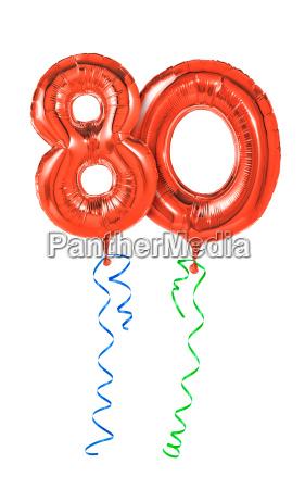 rote luftballons mit geschenkband nummer